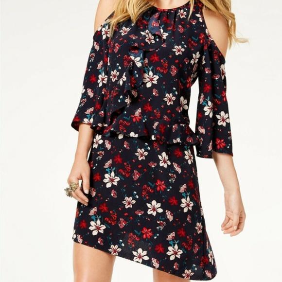 bfbd29d7d Rachel Zoe Dresses | Floral Print Cold Shoulder Ruffle Dress | Poshmark